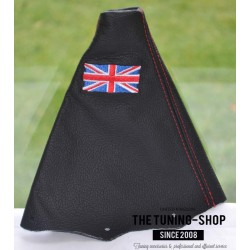 BMW MINI COOPER S ONE 2001-2006 GEAR GAITER BLACK LEATHER RED STITCHING EMBROIDERY ENGLISH FLAG