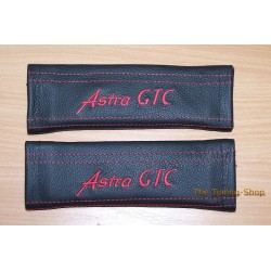 SEAT BELT COVERS BLACK GENUINE LEATHER EMBROIDERY ASTRA RED STITCHING