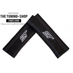 SEAT BELT COVERS BLACK GENUINE LEATHER CUSTOM EMBROIDERY ST BLUE STITCHING NEW