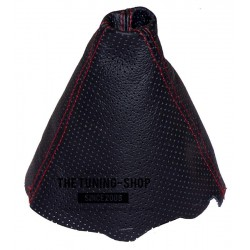 AUDI A4 B6 2001-2004 GEAR GAITER BLACK PERFORATED LEATHER SHIFT BOOT embroidery QUATTRO RED STITCHING NEW