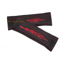 SEAT BELT COVERS BLACK GENUINE LEATHER EMBROIDERY Racing RED STITCHING NEW