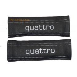 SEAT BELT COVERS WHITE GENUINE LEATHER EMBROIDERY QUATTRO