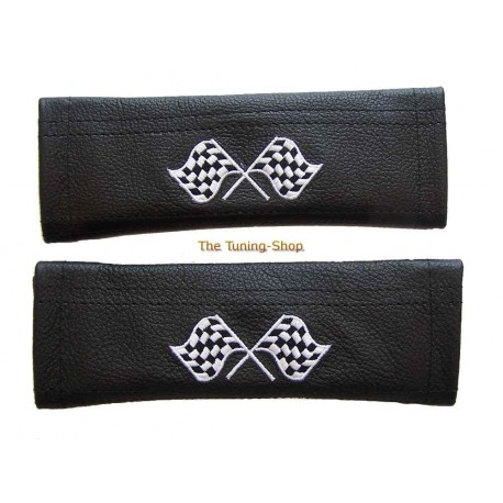 SEAT BELT COVERS BLACK GENUINE LEATHER CUSTOM EMBROIDERY ST WHITE STITCHING NEW