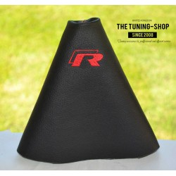 VW VOLKSWAGEN POLO 6R 2009-2015 GEAR GAITER BLACK LEATHER embroidery GTI red stitching
