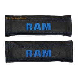 SEAT BELT COVERS BLACK GENUINE LEATHER CUSTOM EMBROIDERY GTI blue stitching NEW