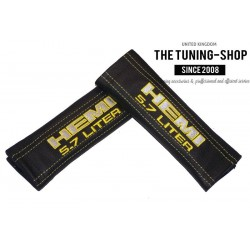 SEAT BELT COVERS BLACK GENUINE LEATHER EMBROIDERY HEMI 5.7 LITER IN YELLOW / GREY with black stitching NEW for HEMI fans