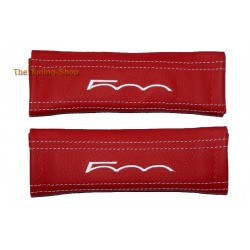SEAT BELT COVERS RED GENUINE LEATHER WHITE STITCHING WITH EMBROIDERY 500 FOR FIAT 500 / ABARTH NEW