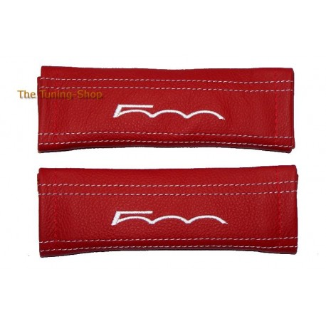SEAT BELT COVERS RED GENUINE LEATHER BLACK STITCHING WITH EMBROIDERY 500 FOR FIAT 500 / ABARTH NEW