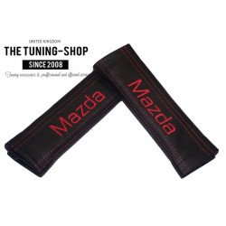 SEAT BELT COVERS PADS x 2 GENUINE BLACK LEATHER CUSTOM EMBROIDERY Mazda WITH RED STITCHING FOR MAZDA new F1