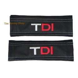 SEAT BELT HARNESS COVERS PADS BLACK GENUINE LEATHER EMBROIDERY TDI with red I red stitching NEW