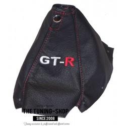 NISSAN SKYLINE R34 GTS GTR 1998-2002 BLACK LEATHER GEAR GAITER RED STITCHING