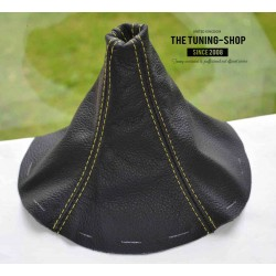 FOR  MAZDA RX-7 RX7 GEAR GAITER BLACK LEATHER TAN STITCHING