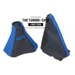 FOR VAUXHALL CORSA C 2000-2006 GEAR HANDBRAKE GAITER BLACK LEATHER BLUE STITCHING EMBROIDERY CORSA