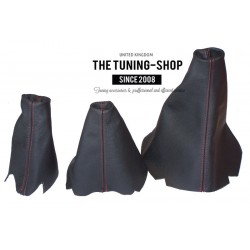 FOR LAND ROVER DISCOVERY 200TDI 300TDI TD5 V8 GEAR HI-LOW HANDBRAKE GAITER BLACK LEATHER CREAM STTCHING