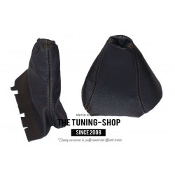 FOR VOLVO S60 2000-2007 GEAR GAITER BLACK LEATHER BEIGE STITCHING