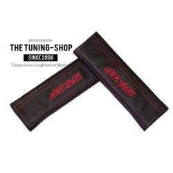 SEAT BELT COVERS x 2 GENUINE BLACK LEATHER CUSTOM EMBROIDERY MX-5 WITH RED STITCHING FOR MAZDA new (Type 2)