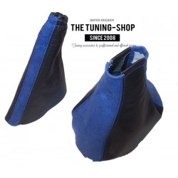 FOR VAUXHALL CORSA B 1993-2000 GEAR HANDBRAKE GAITER BLACK LEATHER BLUE SUEDE ALCANTARA