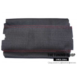 FOR HONDA S2000 2001-2003 BLACK LEATHER ARMREST COVER RED STITCHING
