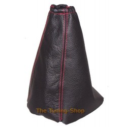 FOR  PEUGEOT 205 GEAR GAITER BLACK LEATHER EMBROIDERY GTI RED STITCHING