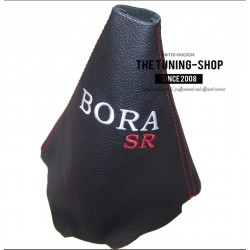 FOR VW GOLF 4 MK4 BORA GEAR GAITER FITTED WITH STAPLES EMBROIDERY BORA SR RED STITCHING