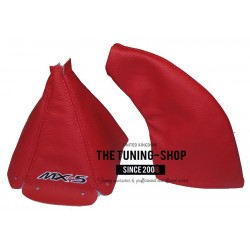 FOR  MAZDA MX-5 MK2 1998-2005 GEAR HANDBRAKE GAITER RED LEATHER STYLE EMBROIDERY MX-5