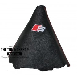 FOR AUDI A4 B8 2008-2015 BLACK LEATHER GEAR GAITER WITH STYLE SLINE EMBROIDERY RED STOTCH
