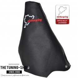 FOR PEUGEOT 307 2001-2008 MANUAL GEAR GAITER BLACK LEATHER STYLE NURBURGRING BLACK STITCH