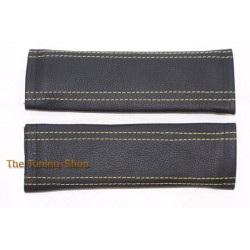 SEAT BELT COVERS x 2 GENUINE BLACK LEATHER WITH YELLOW STITCHING NEW