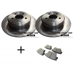 2 x Non Vented Rear Break Disc + CBK Rear Brake Pads for Chrysler 300C Dodge Charger Challenger Magnum