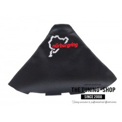 FOR SEAT IBIZA CORDOBA 02-08 GEAR GAITER BLACK LEATHER EMBROIDERY RED STITCHING