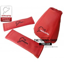 FOR AUDI A4 B7 2005-2007 RED LEATHER GEAR GAITER NURBURGRING EMBROIDERY