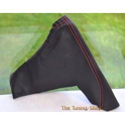 VAUXHALL ASTRA MK5 H 2005-2009 HANDBRAKE GAITER BLACK LEATHER RED STITCHING