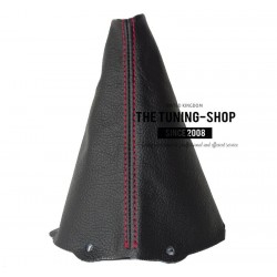 FOR  BMW MINI COOPER S ONE 2001-2006 GEAR GAITER BLACK LEATHER RED STITCHING