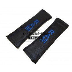 FOR  HONDA CIVIC TYPE R 2007+ SEAT BELTS COVERS BLACK LEATHER RED TYPE R EDITION EMBROIDERY
