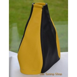 FIAT PUNTO MK1 93-99 GEAR GAITER BLACK+YELLOW LEATHER
