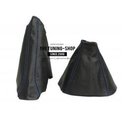 FOR VAUXHALL ASTRA MK5 H 2005-2009 GEAR HANDBRAKE GAITER BLACK LEATHER BLUE STITCHING