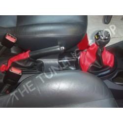 FORD FOCUS 98-04 GEAR & HANDBRAKE GAITER BLACK+RED LEATHER NEW