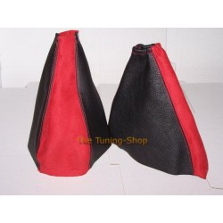 FORD FOCUS GAITERS / BOOTS BLACK LEATHER + RED ALCANTARA 98-04