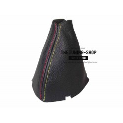 FOR BMW X3 E83 2003-2010 AUTOMATIC GEAR GAITER BLACK LEATHER M3 COLOURS STITCHING