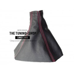 FOR VAUXHALL OPEL VECTRA C 02-09 GEAR GAITER BLACK LEATHER RED STITCHING