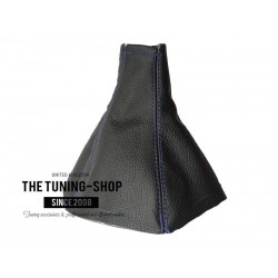 FOR VAUXHALL OPEL VECTRA C 02-09 GEAR GAITER BLACK LEATHER BLUE STITCHING