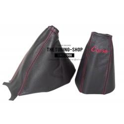 FOR  VAUXHALL CORSA D 2006+ GEAR HANDBRAKE GAITER BLACK RED SRI EMBROIDERY