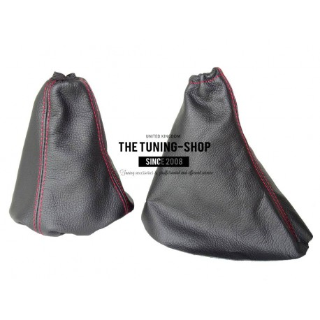 FOR CITROEN C5 MK1 01-07 GEAR GAITER SHIFT BOOT BLACK LEATHER RED STITCHING