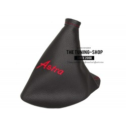 FOR VAUXHALL ASTRA MK6 J 2009-2015 GEAR GAITER BLACK LEATHER RED STITCHING