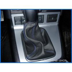 FORD MONDEO MK3 03-06 GEAR GAITER BOOT BLACK LEATHER BLUE STITCH