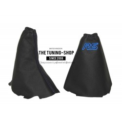 FOR  FORD FOCUS MK2 GEAR+HANDBRAKE GAITER BLACK LEATHER BLUE STITCHING ST EMBROIDERY