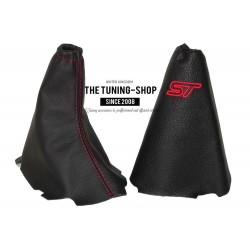 FOR  FORD FOCUS MK2 GEAR+HANDBRAKE GAITER BLACK LEATHER RED STITCHING RS EMBROIDERY