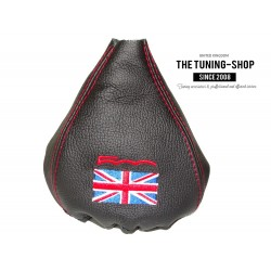 FIAT 500 2007-2014 GEAR GAITER BLACK LEATHER UNION JACK COLOURS  500 EMBROIDERY