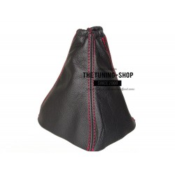 FOR FORD S-MAX 2006-2010 GEAR GAITER BLACK LEATHER RED STITCHING