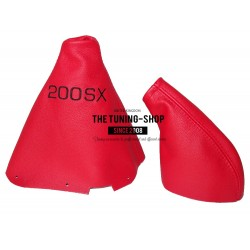 FOR NISSAN 200SX S14 SILVIA GEAR & HANDBRAKE GAITER RED LEATHER 2 PANELS